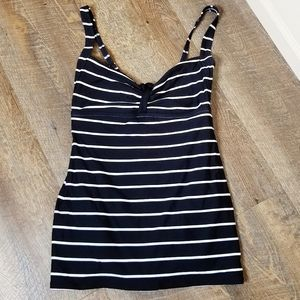 Coco Rave | Black White Striped Bow Swimdress